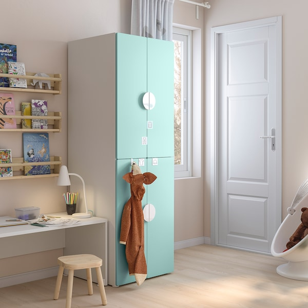 SMÅSTAD Wardrobe, white pale turquoise/with 2 clothes rails, 60x57x181 cm