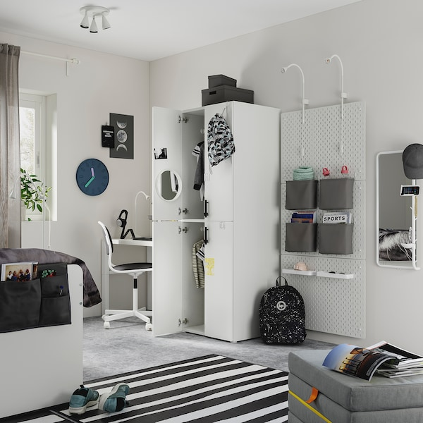SMÅSTAD Wardrobe, white white/with 2 clothes rails, 60x57x181 cm