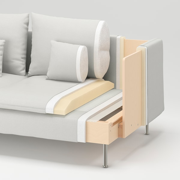 SÖDERHAMN كنبة زاوية، 4 مقاعد, مع طرف مفتوح/Samsta رمادي غامق