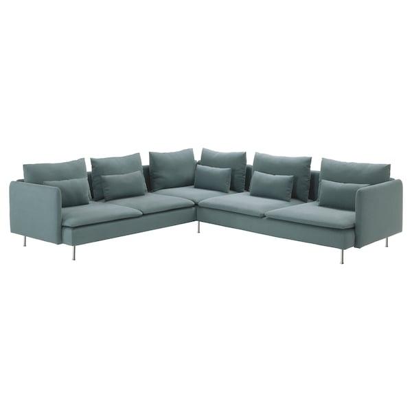SÖDERHAMN Corner sofa, 6-seat, Finnsta turquoise