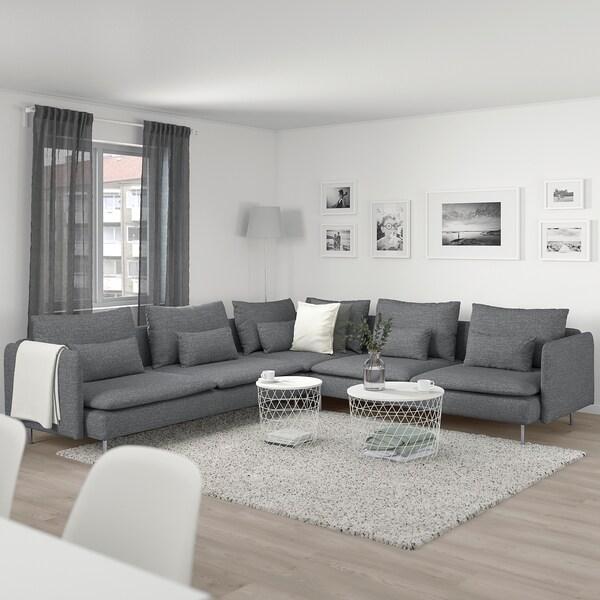 SÖDERHAMN Corner sofa, 6-seat, Lejde grey/black