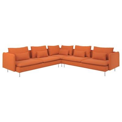 SÖDERHAMN Corner sofa, 6-seat, Samsta orange