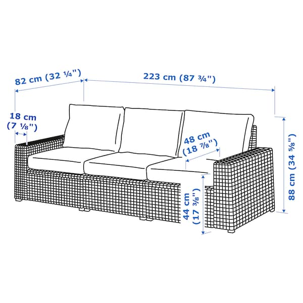 SOLLERÖN 3-seat modular sofa, outdoor, brown/Frösön/Duvholmen blue, 223x82x88 cm