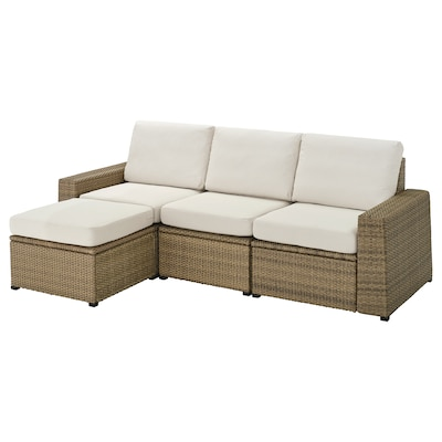 SOLLERÖN 3-seat modular sofa, outdoor, with footstool brown/Frösön/Duvholmen beige, 223x144x88 cm