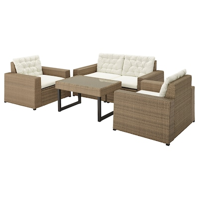 SOLLERÖN 4-seat conversation set, outdoor, brown/Kuddarna beige