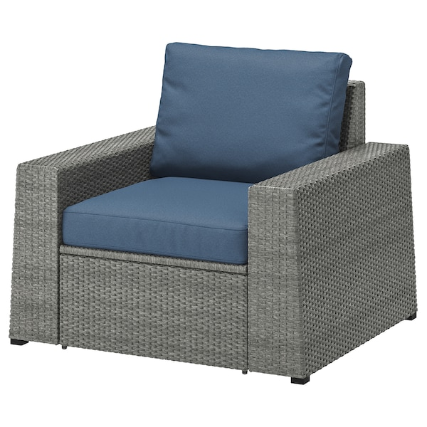 SOLLERÖN Armchair, outdoor, dark grey/Frösön/Duvholmen blue