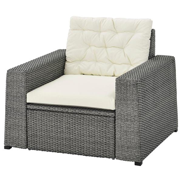 SOLLERÖN Armchair, outdoor, dark grey/Kuddarna beige