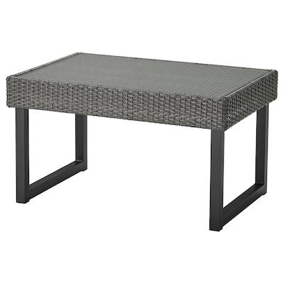 SOLLERÖN طاولة قهوة، خارجية, فحمي/رمادي غامق, 92x62 سم