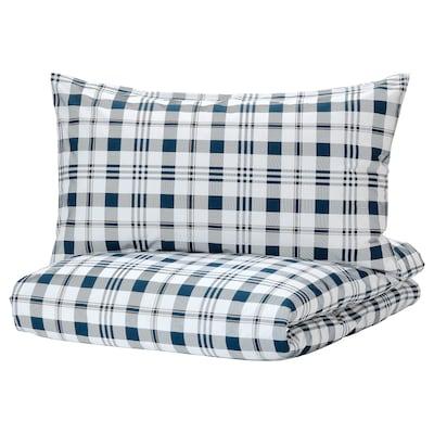 SPIKVALLMO Duvet cover and 2 pillowcases, white blue/check, 240x220/50x80 cm
