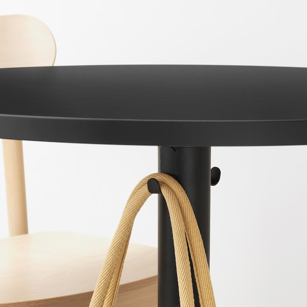 STENSELE / RÖNNINGE Table and 2 chairs, anthracite/anthracite birch, 70 cm