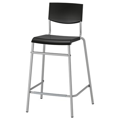 STIG Bar stool with backrest, black/silver-colour, 63 cm