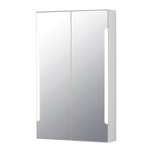 STORJORM Mirror cab 2 door/built-in lighting