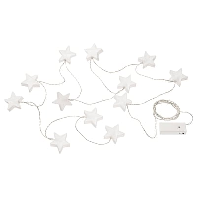 STRÅLA LED lighting chain with 12 lights, battery-operated star