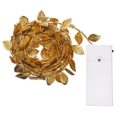 STRÅLA LED lighting chain with 40 lights, battery-operated leaf/gold-colour