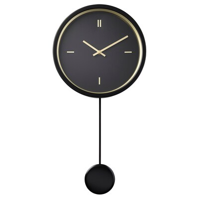 STURSK Wall clock, black, 26 cm