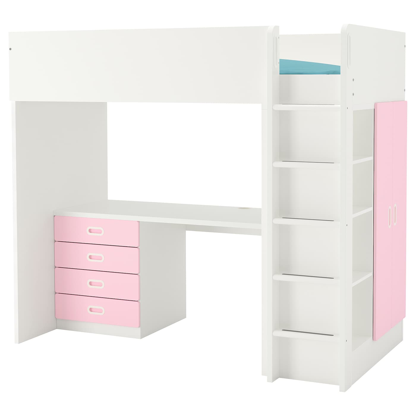 Stuva Fritids Loft Bed Combo W 4 Drawers 2 Doors White Light