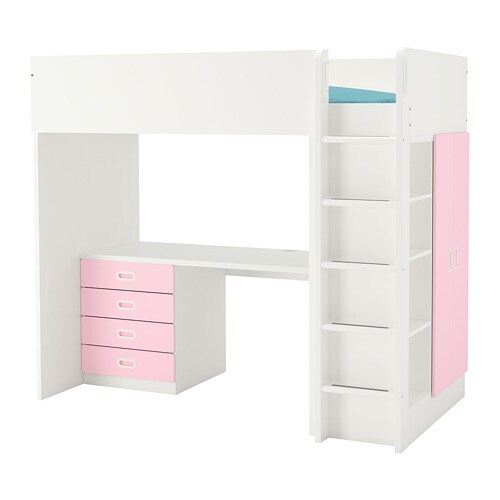 Stapelbed Ikea 80 X 200.Stuva Fritids Loft Bed Combo W 4 Drawers 2 Doors White Light Pink