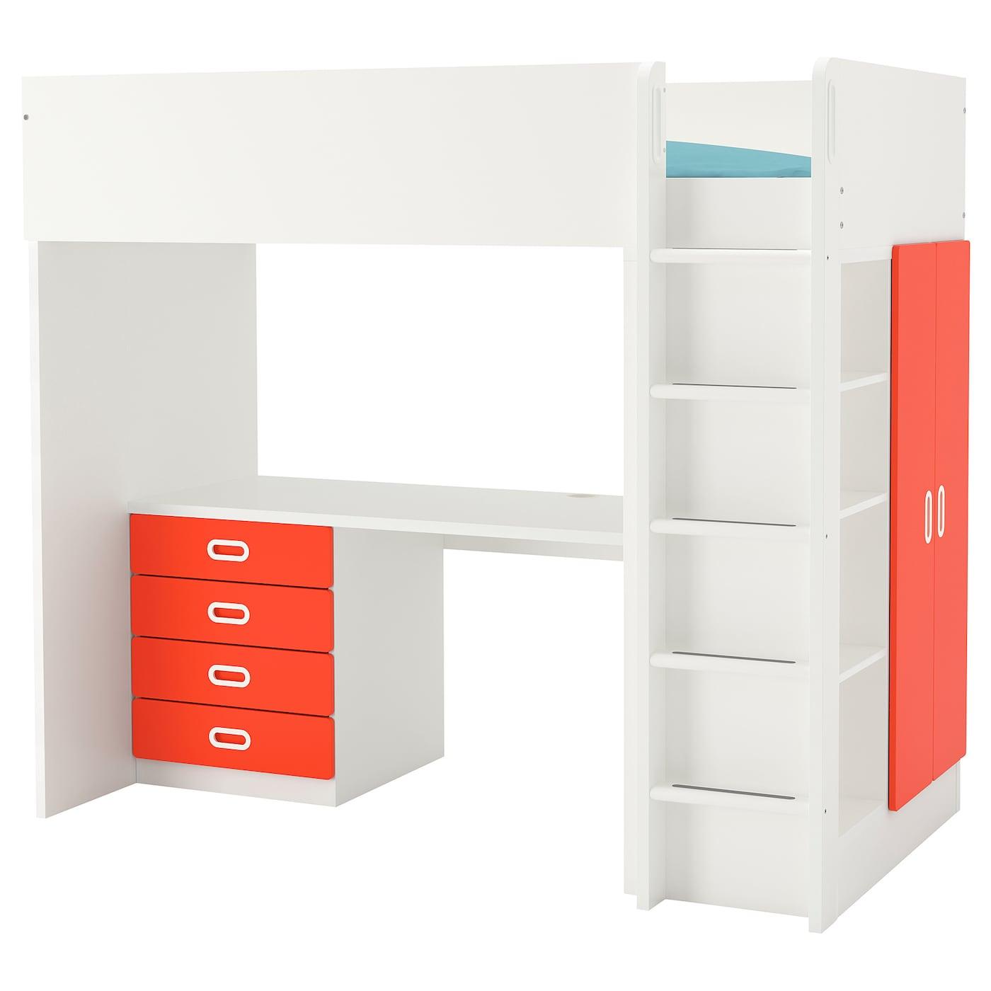 Stuva Fritids Loft Bed Combo W 4 Drawers 2 Doors White Light Pink