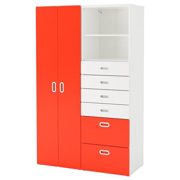 STUVA / FRITIDS دولاب ملابس, أبيض/أحمر, 120x50x192 سم