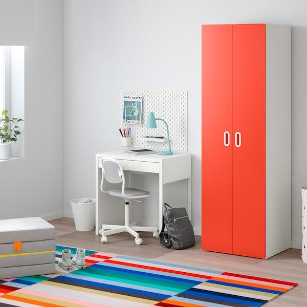STUVA / FRITIDS دولاب ملابس, أبيض/أحمر, 60x50x192 سم