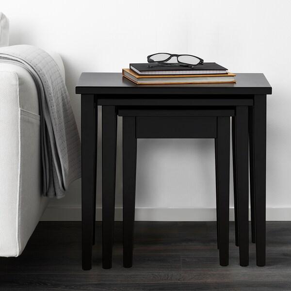SUNDSTA Nest of tables, set of 3, black-brown