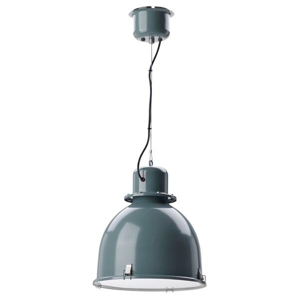 SVARTNORA Pendant lamp, grey-turquoise, 38 cm