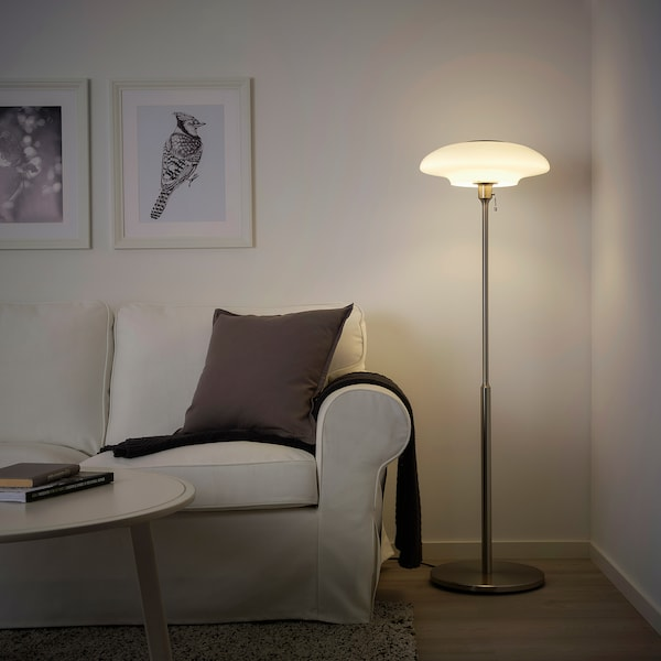 TÄLLBYN Floor lamp, nickel-plated/opal white glass, 135 cm