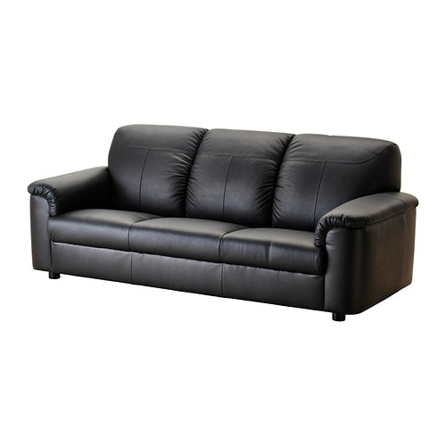 Timsfors three seat sofa mjuk kimstad black ikea for Sofas de piel economicos