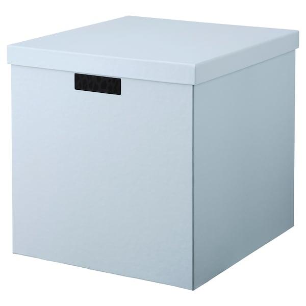 TJENA Storage box with lid, blue, 32x35x32 cm