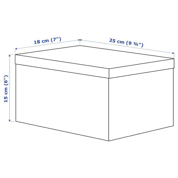 TJENA Storage box with lid, white, 18x25x15 cm