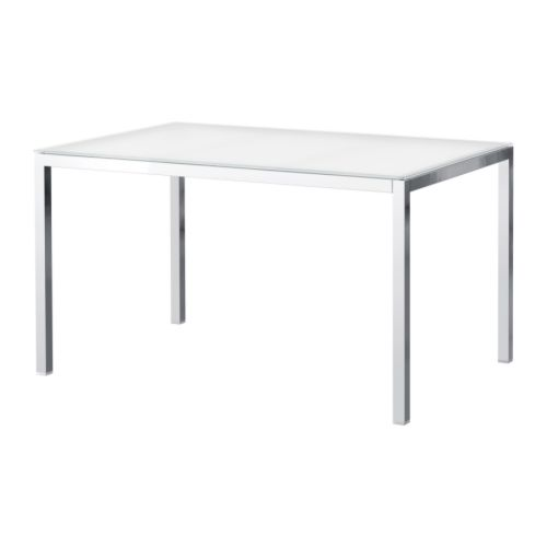TORSBY Table   The table top made of tempered glass is easy to clean and more durable than ordinary glass.  Seats 4.