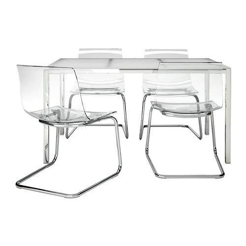 TORSBY / TOBIAS Table and 4 chairs   The table top made of tempered glass is easy to clean and more durable than ordinary glass.