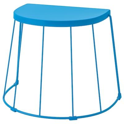 TRANARÖ مقعد/طاولة جانبية، داخلي/خارجي, أزرق, 56x41x43 سم