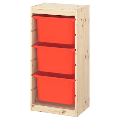 TROFAST Storage combination with boxes, light white stained pine/orange, 44x30x91 cm