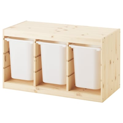 TROFAST Storage combination with boxes, light white stained pine/white, 93x44x52 cm