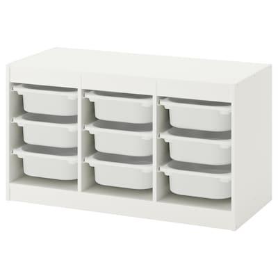 TROFAST Storage combination with boxes, white/white, 99x44x56 cm