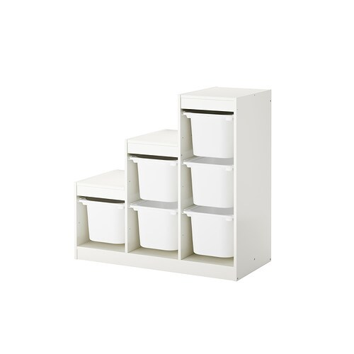 TROFAST Storage combination with boxes   A playful and sturdy storage series for storing and organising toys, sitting, playing and relaxing.