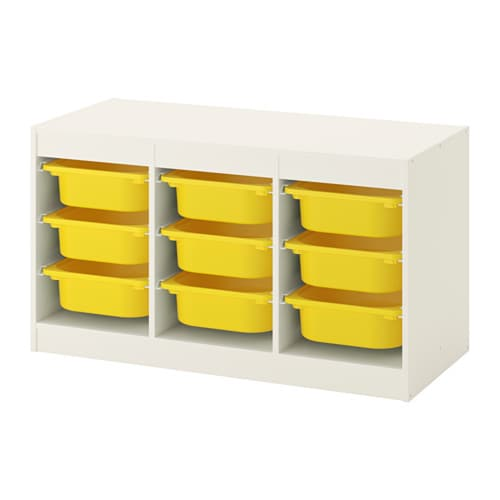 Trofast Storage Combination With Boxes White Yellow