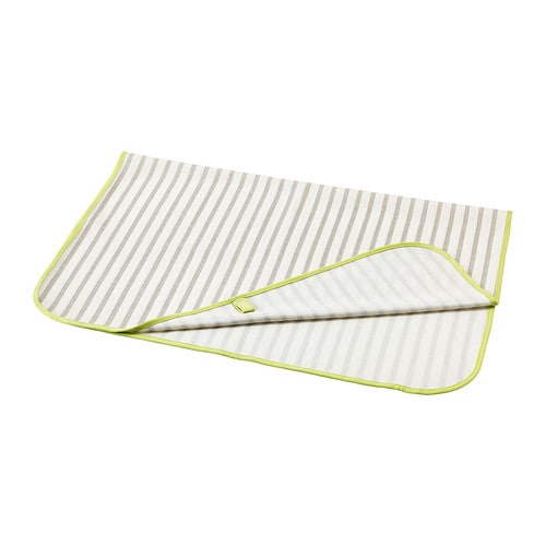 TUTIG Babycare mat   With waterproof backing.  Easy to keep clean: machine washable.  Easy to fold and store away.
