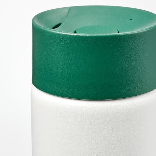 UNDERSÖKA Insulated travel mug, white/green, 0.4 l