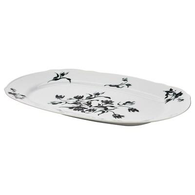UPPLAGA Serving plate, white/patterned, 44x30 cm