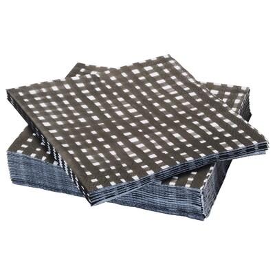 URLADDA Paper napkin, black/white, 33x33 cm