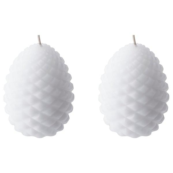 VÄXLANDE Unscented block candle, cone/white, 8 cm