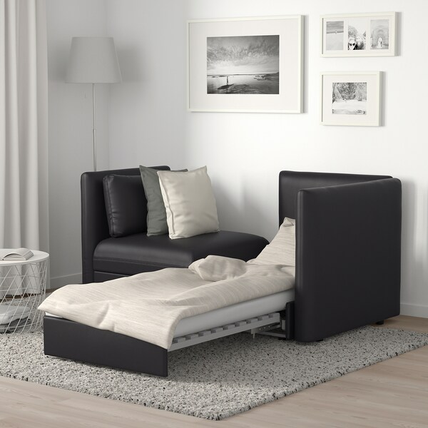 VALLENTUNA 2-seat modular sofa with sofa-bed, and storage/Murum black