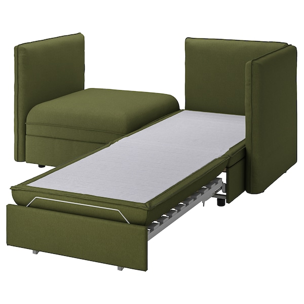 VALLENTUNA 2-seat modular sofa with sofa-bed, and storage/Orrsta olive-green