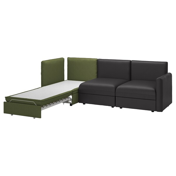 VALLENTUNA 3-seat modular sofa with sofa-bed, and storage/Murum/Orrsta black/olive-green