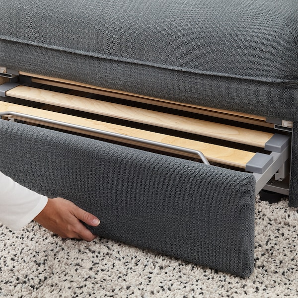 VALLENTUNA 3-seat modular sofa with sofa-bed, with open end/Hillared dark grey