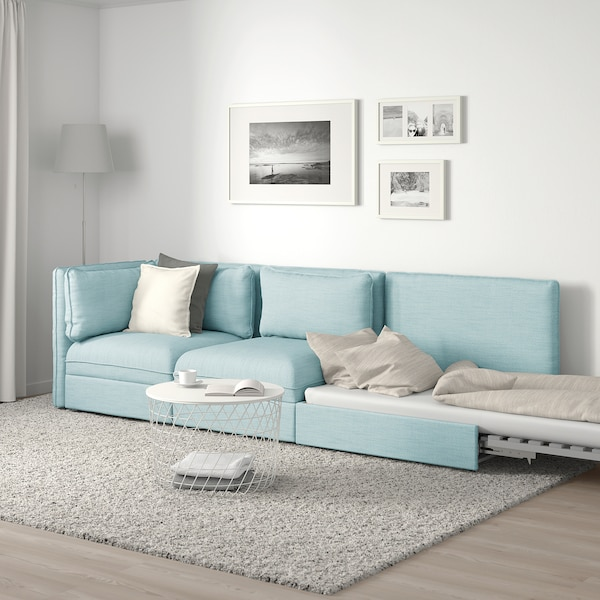 VALLENTUNA 3-seat modular sofa with sofa-bed, with open end/Hillared light blue