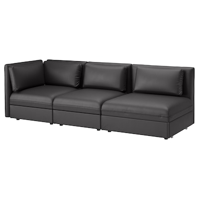 VALLENTUNA 3-seat modular sofa with sofa-bed, with open end/Murum black