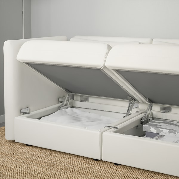 VALLENTUNA 3-seat modular sofa with sofa-bed, with open end/Murum white